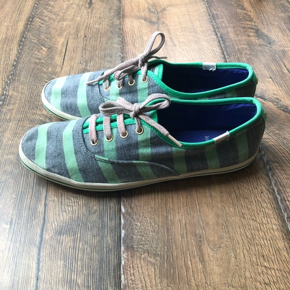Kate Spade Green and Blue Striped Ked Sneakers